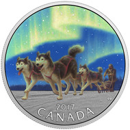 2017 $10 FINE SILVER COIN DOG SLEDDING UNDER THE NORTHERN LIGHTS
