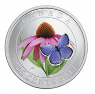 2013 25 CENT COLOURED COIN - PURPLE CONEFLOWER AND EASTERN TAILED BLUE