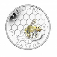 2013 $3 FINE SILVER COIN - ANIMAL ARCHITECTS: BEE & HIVE