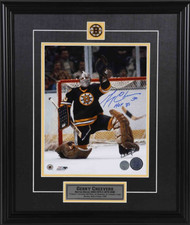 Gerry Cheevers Boston Bruins Signed Glove Save 11x14 Photo