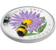 2012 $20 FINE SILVER COIN - ASTER WITH GLASS BUMBLE BEE