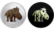 2012 25-CENT GLOW IN THE DARK DINOSAUR PREHISTORIC ANIMALS - PACHYRHINOSAURUS LAKUSTAI