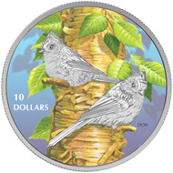 2017 $10 FINE SILVER COIN BIRDS AMONG NATURE'S COLOURS: TUFTED TITMOUSE