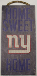 "NEW YORK GIANTS - OFFICIAL NFL HOME SWEET HOME 6 X 12"" WOODEN SIGN"