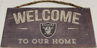 "OAKLAND RAIDERS - OFFICIAL NFL WELCOME TO OUR HOME 6 X 12"" WOODEN SIGN"