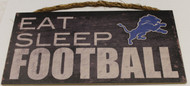 "DETROIT LIONS - OFFICIAL NFL EAT SLEEP FOOTBALL 6 X 12"" WOODEN SIGN"
