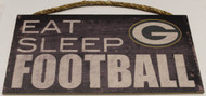 "GREEN BAY PACKERS - OFFICIAL NFL EAT SLEEP FOOTBALL 6 X 12"" WOODEN SIGN"