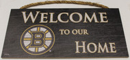 "BOSTON BRUINS OFFICIAL NHL WELCOME TO OUR HOME 6 X 12"" WOODEN SIGN"