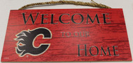 "CALGARY FLAMES OFFICIAL NHL WELCOME TO OUR HOME 6 X 12"" WOODEN SIGN"