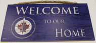 "WINNIPEG JETS OFFICIAL NHL WELCOME TO OUR HOME 6 X 12"" WOODEN SIGN"
