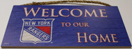 "NEW YORK RANGERS OFFICIAL NHL WELCOME TO OUR HOME 6 X 12"" WOODEN SIGN"