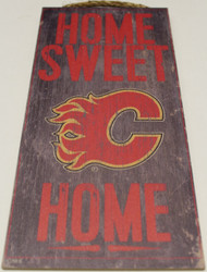 "CALGARY FLAMES OFFICIAL NHL HOME SWEET HOME 6 X 12"" WOODEN SIGN"