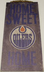 "EDMONTON OILERS OFFICIAL NHL HOME SWEET HOME 6 X 12"" WOODEN SIGN"