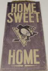 "PITTSBURGH PENGUINS OFFICIAL NHL HOME SWEET HOME 6 X 12"" WOODEN SIGN"
