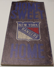 "NEW YORK RANGERS OFFICIAL NHL HOME SWEET HOME 6 X 12"" WOODEN SIGN"