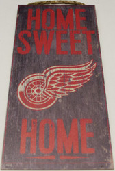"DETROIT RED WINGS OFFICIAL NHL HOME SWEET HOME 6 X 12"" WOODEN SIGN"