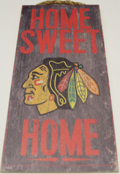 "CHICAGO BLACKHAWKS OFFICIAL NHL HOME SWEET HOME 6 X 12"" WOODEN SIGN"
