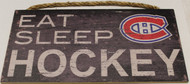 "MONTREAL CANADIENS OFFICIAL NHL EAT SLEEP HOCKEY 6 X 12"" WOODEN SIGN"