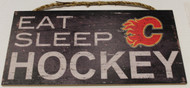 "CALGARY FLAMES OFFICIAL NHL EAT SLEEP HOCKEY 6 X 12"" WOODEN SIGN"