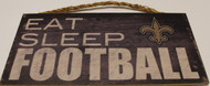"NEW ORLEANS SAINTS - OFFICIAL EAT SLEEP FOOTBALL  6 X 12"" WOODEN SIGN"