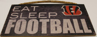 "CINCINNATTI BENGALS - OFFICIAL EAT SLEEP FOOTBALL  6 X 12"" WOODEN SIGN"