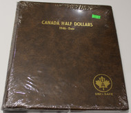 UNI-SAFE EMBOSSED BROWN COIN ALBUM - VOL 162 - CANADA HALF DOLLARS (50 CENT PIECES) 1946-DATE