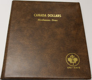 UNI-SAFE EMBOSSED BROWN COIN ALBUM - VOL 165 - CANADA DOLLARS (LOONIES) MISCELLANEOUS-DIVERS