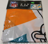 MIAMI DOLPHINS POLYESTER FLAG  - 3 X 5 FEET - INDOOR/OUTDOOR - BRAND NEW