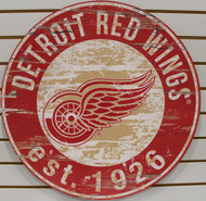 "DETROIT RED WINGS NHL HOCKEY 23.5"" CIRCULAR WOODEN SIGN"