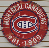 "MONTREAL CANADIENS NHL HOCKEY 23.5"" CIRCULAR WOODEN SIGN"