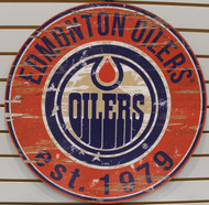 "EDMONTON OILERS NHL HOCKEY 23.5"" CIRCULAR WOODEN SIGN"