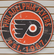 "PHILADELPIA FLYERS NHL HOCKEY 23.5"" CIRCULAR WOODEN SIGN"