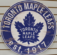 "TORONTO MAPLE LEAFS NHL HOCKEY 23.5"" CIRCULAR WOODEN SIGN"