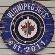 "WINNEPEG JETS NHL HOCKEY 23.5"" CIRCULAR WOODEN SIGN"