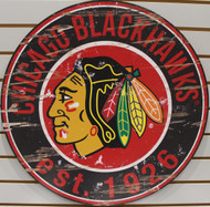 "CHICAGO BLACKHAWKS NHL HOCKEY 23.5"" CIRCULAR WOODEN SIGN"