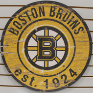"BOSTON BRUINS NHL HOCKEY 23.5"" CIRCULAR WOODEN SIGN"