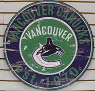 "VANCOUVER CANUCKS NHL HOCKEY 23.5"" CIRCULAR WOODEN SIGN"