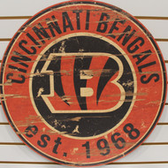 "CINCINNATI BENGALS NFL FOOTBALL 23.5"" CIRCULAR WOODEN SIGN"