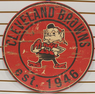 "CLEVELAND BROWNS NFL FOOTBALL 23.5"" CIRCULAR WOODEN SIGN"