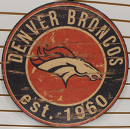 "DENVER BRONCOS NFL FOOTBALL 23.5"" CIRCULAR WOODEN SIGN"