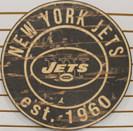 "NEW YORK JETS NFL FOOTBALL 23.5"" CIRCULAR WOODEN SIGN"