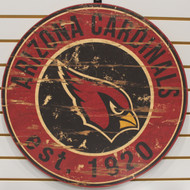 "ARIZONA CARDINALS NFL FOOTBALL 23.5"" CIRCULAR WOODEN SIGN"