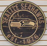 "SEATTLE SEAHAWKS NFL FOOTBALL 23.5"" CIRCULAR WOODEN SIGN"