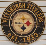 "PITTSBURGH STEELERS NFL FOOTBALL 23.5"" CIRCULAR WOODEN SIGN"