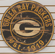 "GREEN BAY PACKERS NFL FOOTBALL 23.5"" CIRCULAR WOODEN SIGN"