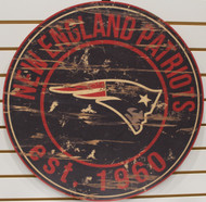 "NEW ENGLAND PATRIOTS NFL FOOTBALL 23.5"" CIRCULAR WOODEN SIGN"