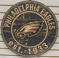 "PHILADELPHIA EAGLES NFL FOOTBALL 23.5"" CIRCULAR WOODEN SIGN"