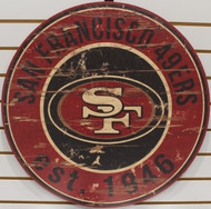 "SAN FRANCISCO 49ERS NFL FOOTBALL 23.5"" CIRCULAR WOODEN SIGN"