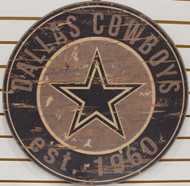 "DALLAS COWBOYS NFL FOOTBALL 23.5"" CIRCULAR WOODEN SIGN"