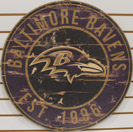 "BALTIMORE RAVENS NFL FOOTBALL 23.5"" CIRCULAR WOODEN SIGN"